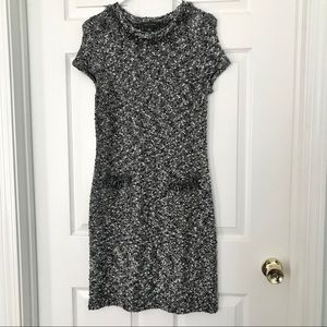 Ann Taylor Tweed dress with pockets&fringe detail